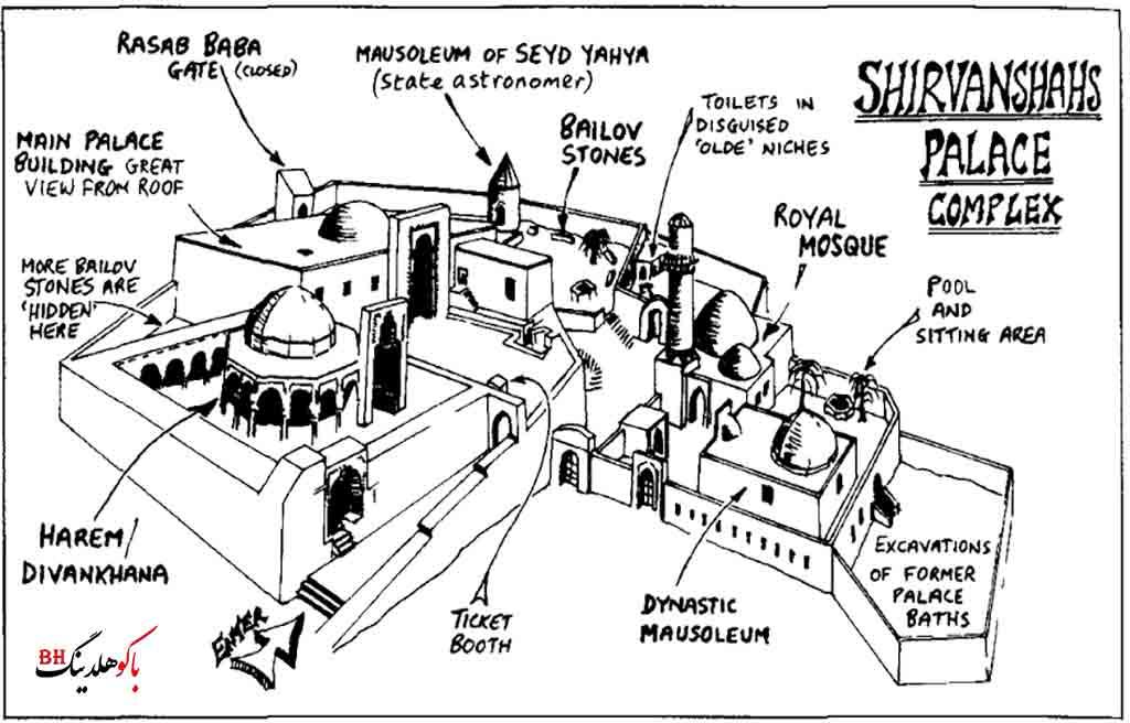 تصویری از نقشه کاخ شیروانشاهان باکو