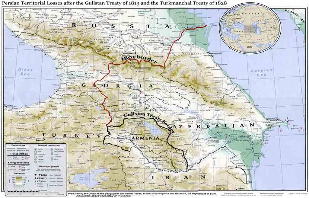 تصویری از عهدنامه ترکمنچای بر روی نقشه