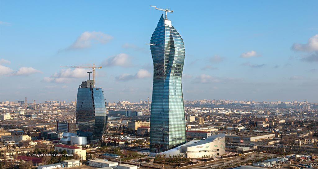 تصویری از برج SOCAR در باکو در نمادهای معماری مدرن باکو