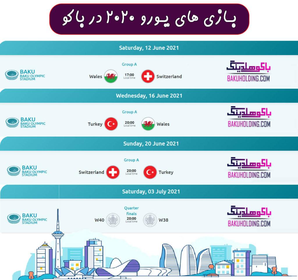 لیست بازی های یورو 2020 در باکو