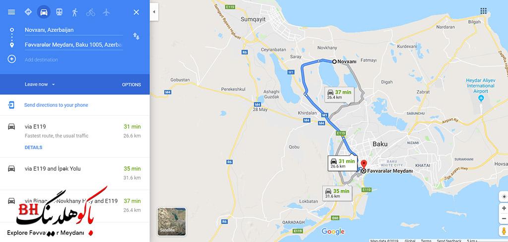 فاصله شهر باکو تا منطقه نوخانی بر روی نقشه