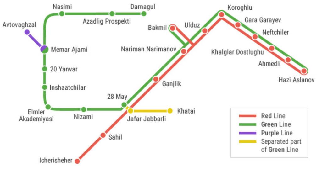 نقشه ی متروی باکو